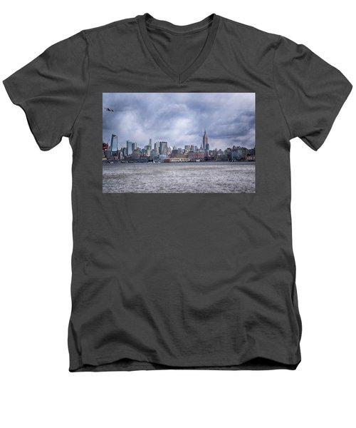 New York Skyline Men's V-Neck T-Shirt by Dyle Warren