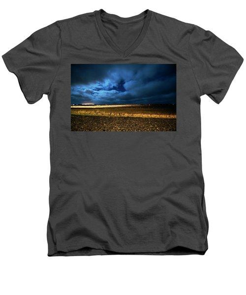 Men's V-Neck T-Shirt featuring the photograph Icelandic Night  by Dubi Roman