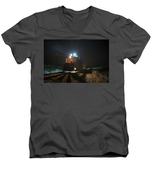 Men's V-Neck T-Shirt featuring the photograph Night Train by Aaron J Groen