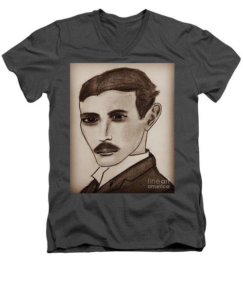 Nikola Tesla, Mad Scientist Men's V-Neck T-Shirt