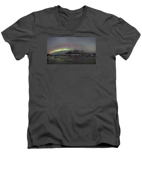 Northern Lights Panoramic Men's V-Neck T-Shirt