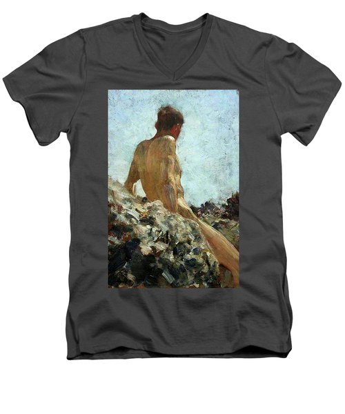 Men's V-Neck T-Shirt featuring the painting Nude Study by Henry Scott Tuke