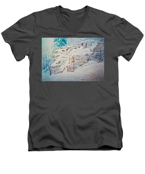 Men's V-Neck T-Shirt featuring the painting Oakfield Ridge by Carolyn Rosenberger