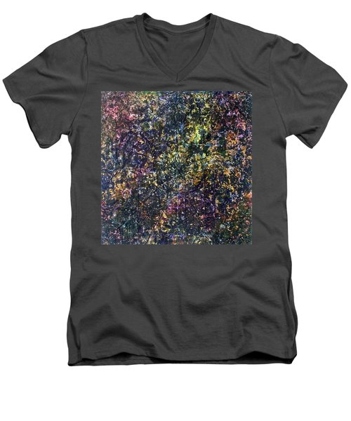 Men's V-Neck T-Shirt featuring the painting 48-offspring While I Was On The Path To Perfection 48 by Parijoy Swami Tapasyananda