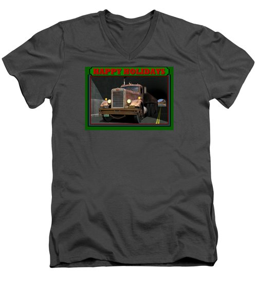 Men's V-Neck T-Shirt featuring the digital art Ol' Pete Happy Holidays by Stuart Swartz