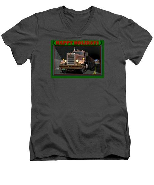 Ol' Pete Happy Holidays Men's V-Neck T-Shirt by Stuart Swartz