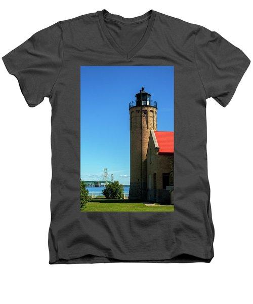 Old Mackinac Point Lighthouse Men's V-Neck T-Shirt