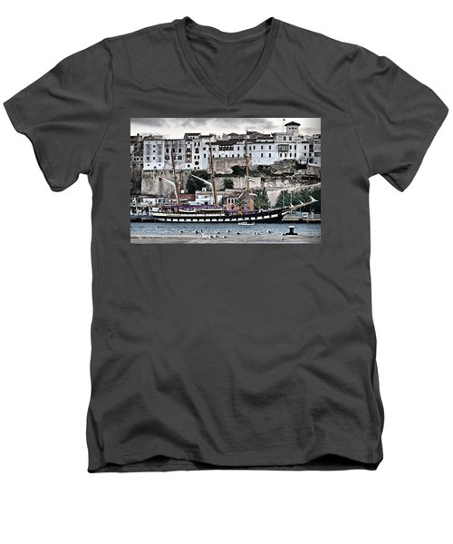 Old Port Mahon And Italian Sail Training Vessel Palinuro Hdr Men's V-Neck T-Shirt by Pedro Cardona