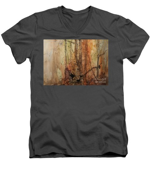 Men's V-Neck T-Shirt featuring the painting on the Verge by Elizabeth Carr