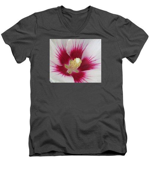 Open Wide Men's V-Neck T-Shirt by Jeanette Oberholtzer