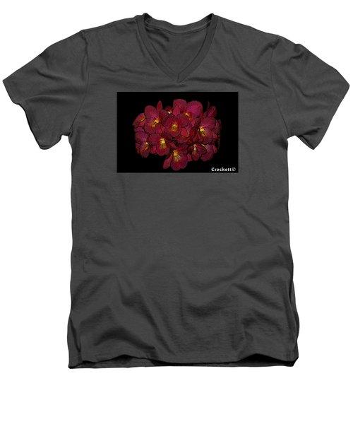 Orchid Floral Arrangement Men's V-Neck T-Shirt by Gary Crockett