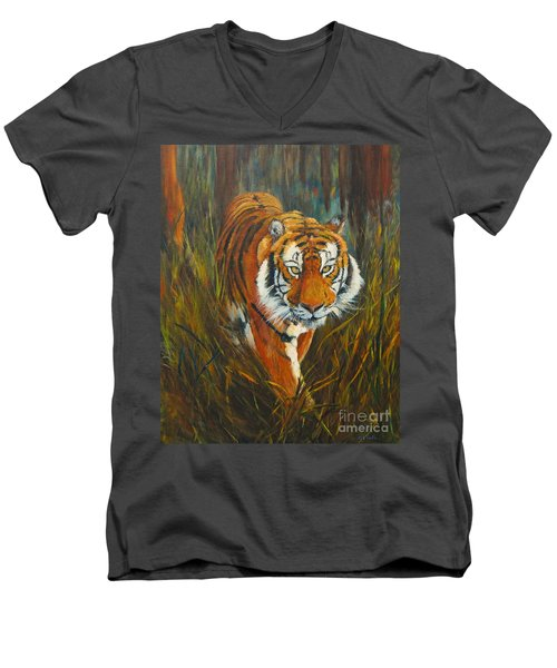 Men's V-Neck T-Shirt featuring the painting Out Of The Woods by Beatrice Cloake