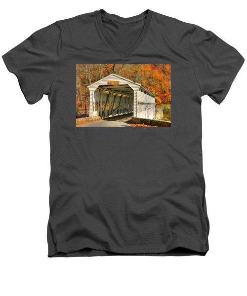 Pa Country Roads - Knox Covered Bridge Over Valley Creek No. 2a - Valley Forge Park Chester County Men's V-Neck T-Shirt by Michael Mazaika