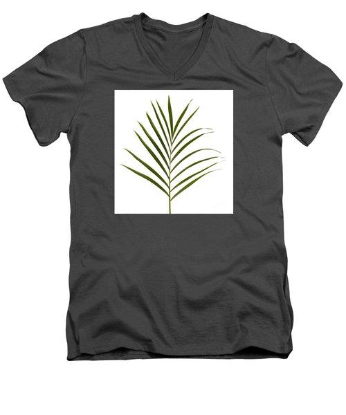 Palm Leaf Men's V-Neck T-Shirt by Tony Cordoza