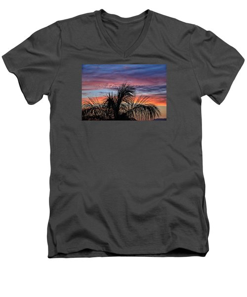 Men's V-Neck T-Shirt featuring the photograph Palm Tree Sunrise by Nikki McInnes