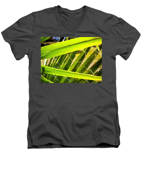 Men's V-Neck T-Shirt featuring the painting Palmetto 3 by Renate Nadi Wesley