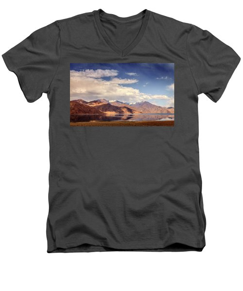Men's V-Neck T-Shirt featuring the photograph Pangong Tso Lake by Alexey Stiop