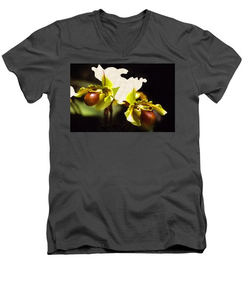 Men's V-Neck T-Shirt featuring the mixed media Paphiopedilum Orchid by Rosalie Scanlon
