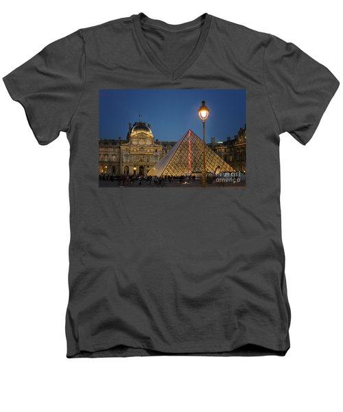 Louvre Museum At Twilight Men's V-Neck T-Shirt by Juli Scalzi