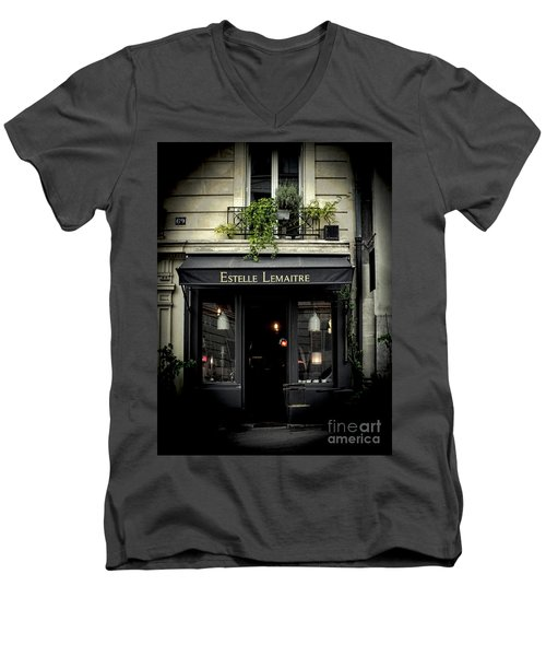 Parisian Shop Men's V-Neck T-Shirt by Karen Lewis
