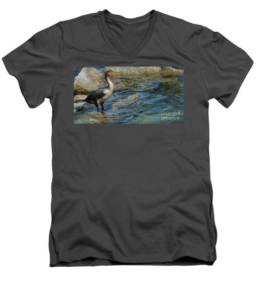 Men's V-Neck T-Shirt featuring the photograph Patiently Waiting by Pamela Blizzard
