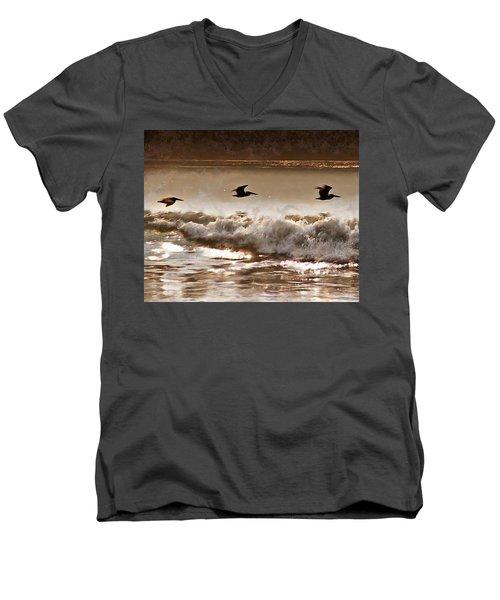 Pelican Patrol Men's V-Neck T-Shirt by Jim Proctor