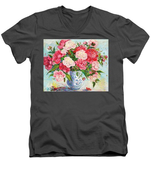 Peonies Men's V-Neck T-Shirt