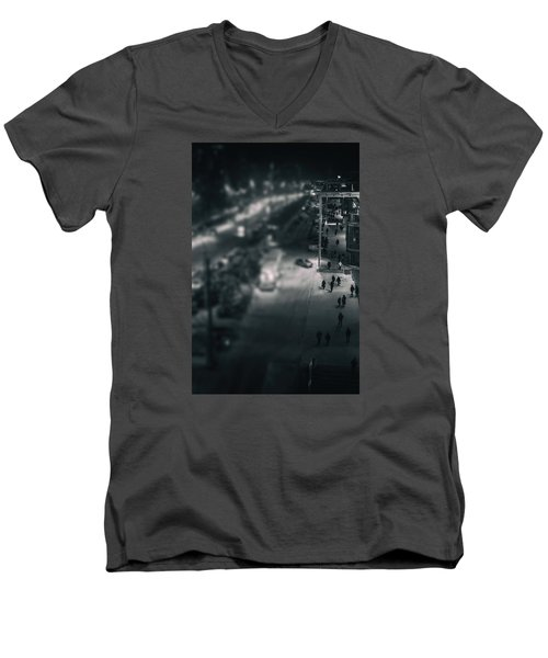 People At Night From Arerial View Men's V-Neck T-Shirt