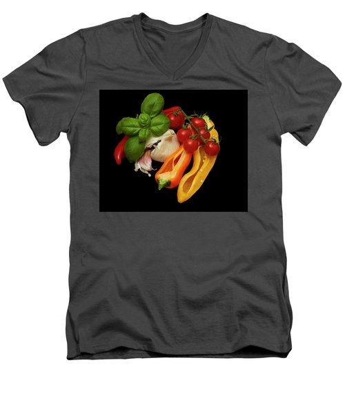 Men's V-Neck T-Shirt featuring the photograph Peppers Basil Tomatoes Garlic by David French