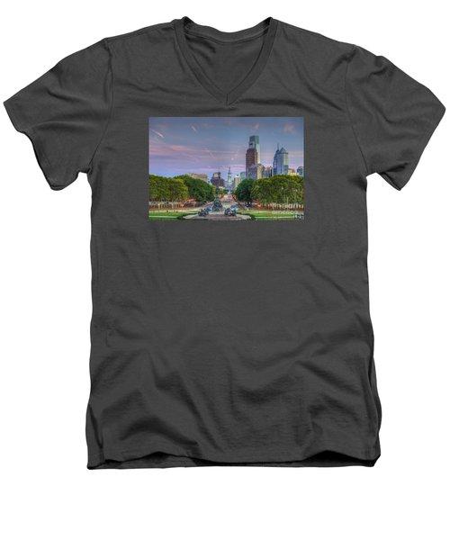 Philadelphia Cityscape Men's V-Neck T-Shirt