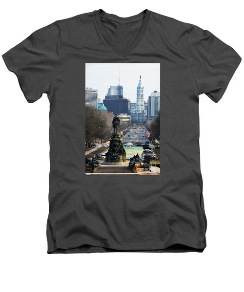 Philadelphia - The Parkway Men's V-Neck T-Shirt by Cindy Manero