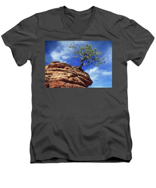 Pine Tree In Sandstone Men's V-Neck T-Shirt