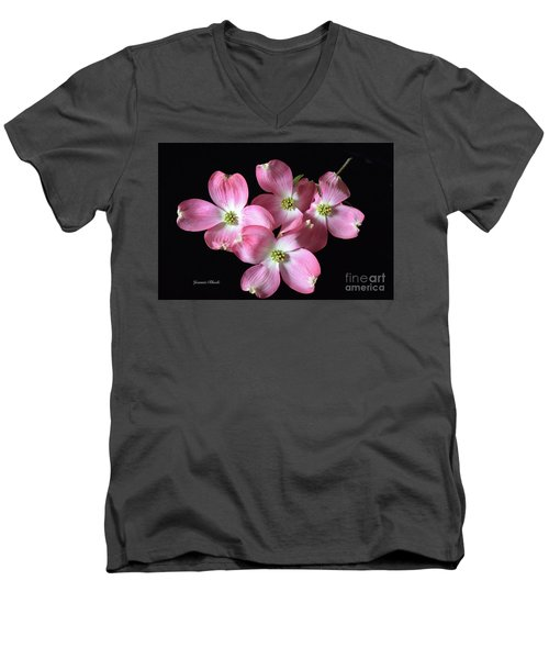 Pink Dogwood Branch Men's V-Neck T-Shirt by Jeannie Rhode