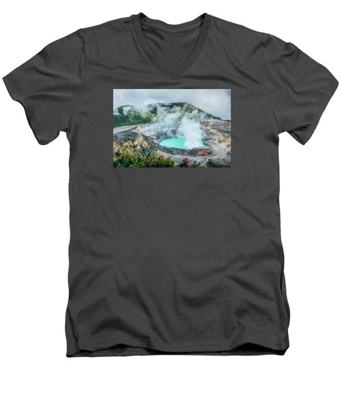 Men's V-Neck T-Shirt featuring the photograph Poas Volcano, Costa Rica by RC Pics