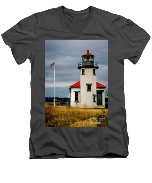 Point Robinson  Lighthouse,vashon Island.wa Men's V-Neck T-Shirt