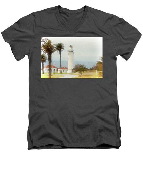 Point Vincente Lighthouse, California In Retro Style Men's V-Neck T-Shirt