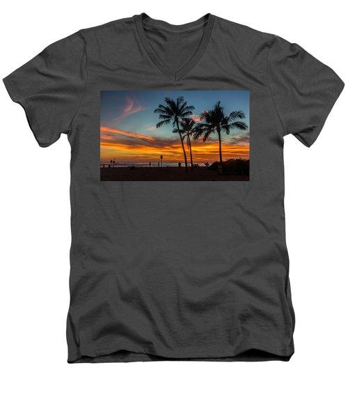 Men's V-Neck T-Shirt featuring the photograph Poipu Beach Sunset - Kauai Hi by Donnie Whitaker