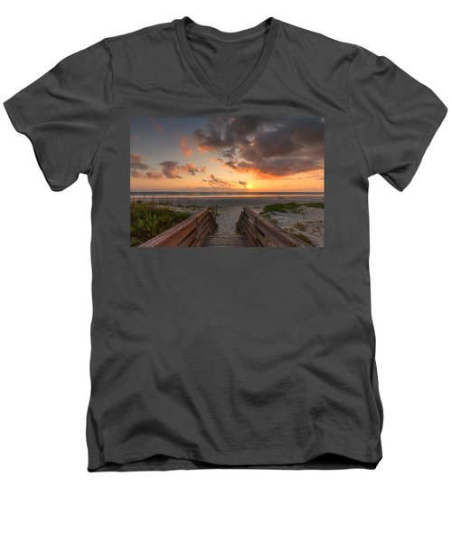 Ponce De Leon Inlet Beach Path Men's V-Neck T-Shirt