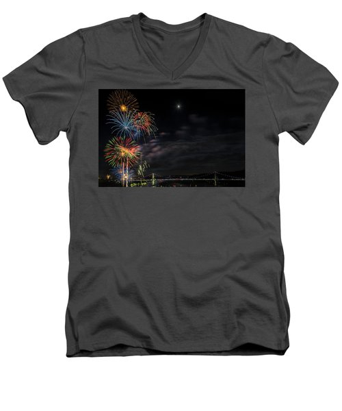Poughkeepsie Fireworks Image Six Men's V-Neck T-Shirt