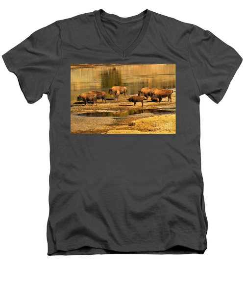 Men's V-Neck T-Shirt featuring the photograph Gathering To Cross The Yellowstone River by Adam Jewell
