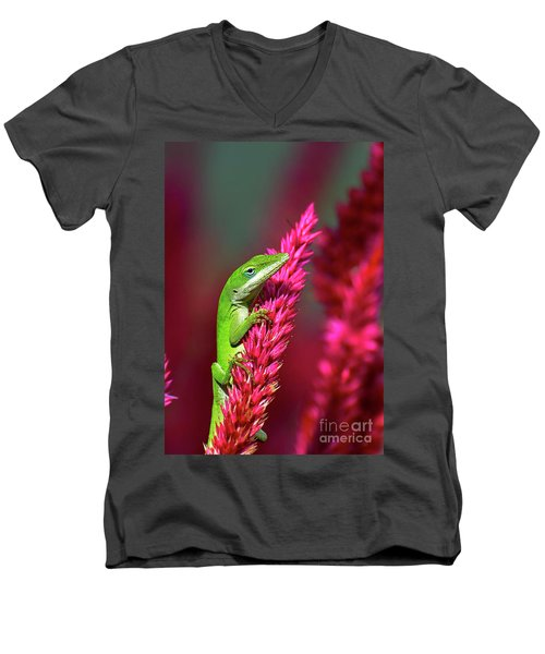 Pretty In Pink Men's V-Neck T-Shirt by Kathy Baccari