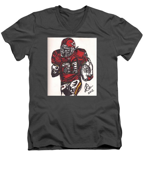Men's V-Neck T-Shirt featuring the drawing Priest Holmes 2 by Jeremiah Colley