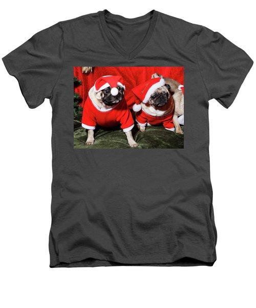 Pugs Dressed As Father Christmas Men's V-Neck T-Shirt