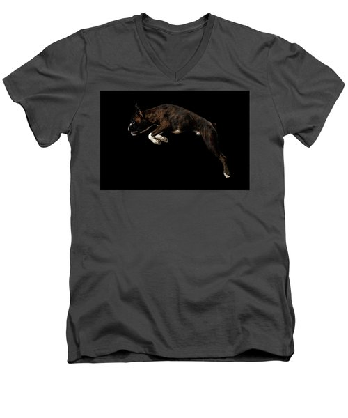 Men's V-Neck T-Shirt featuring the photograph Purebred Boxer Dog Isolated On Black Background by Sergey Taran