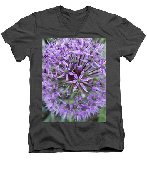 Purple Allium Burst Men's V-Neck T-Shirt by Rebecca Overton