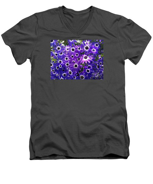 Men's V-Neck T-Shirt featuring the photograph Purple Bunch by Haleh Mahbod