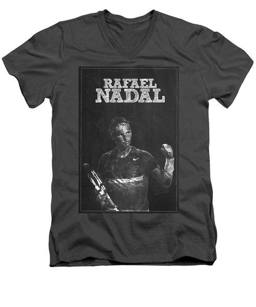 Rafael Nadal Men's V-Neck T-Shirt by Semih Yurdabak