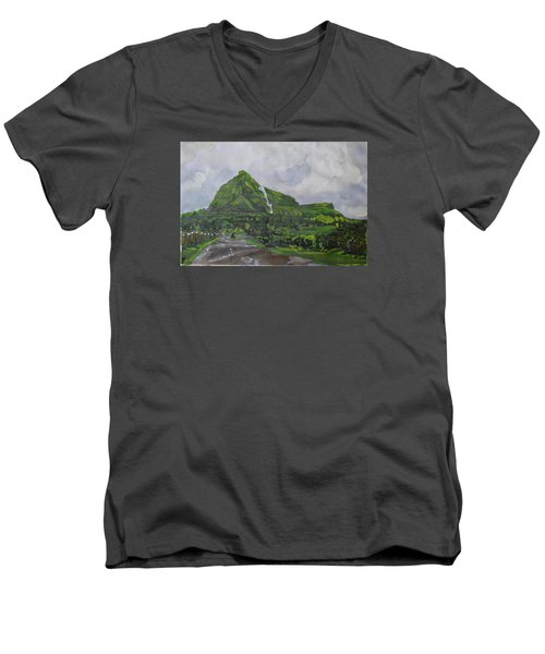 Men's V-Neck T-Shirt featuring the painting Visapur Fort by Vikram Singh