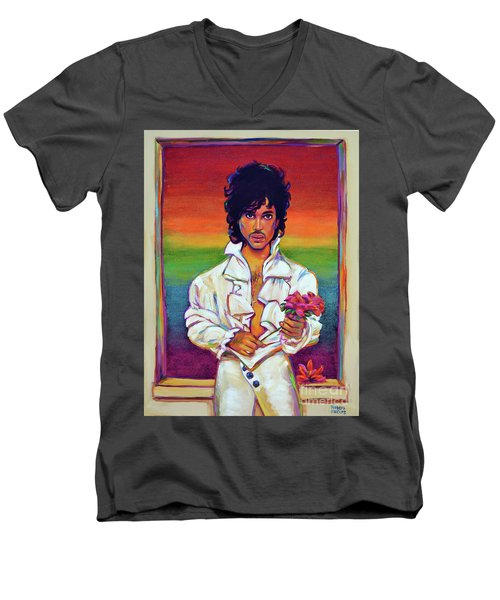 Men's V-Neck T-Shirt featuring the painting Rainbow Child by Robert Phelps