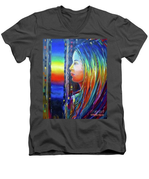 Rainbow Girl 241008 Men's V-Neck T-Shirt by Selena Boron